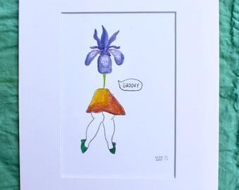 Iris watercolor print