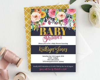 Navy & Gold Floral Baby Shower Invitation, Baby Shower Invite, Floral Baby Shower, Shower Invitation, Girl Baby Shower Invite, Printable