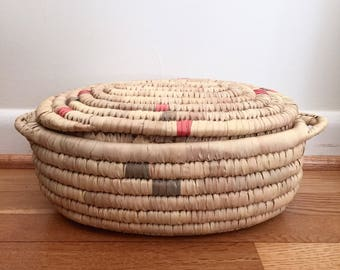 Vintage Sea Grass Basket with Lid