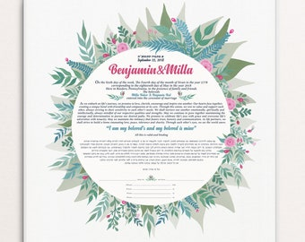 Dalia round floral Ketubah - Marriage Contract, Custom handmade Ketubah, floral original illustrations