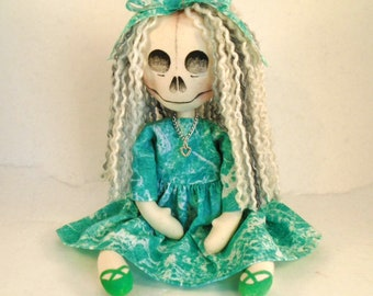 Gift for goth, Collectable doll, Handmade, Horror Art doll, Creepy doll, skull Doll, handpainted, gothic decor, gift for sister, quirky gift