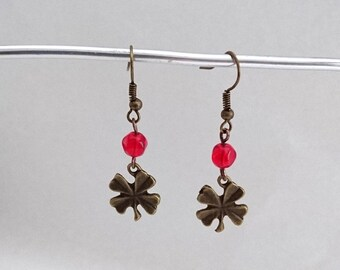 Clover earrings and Red bead