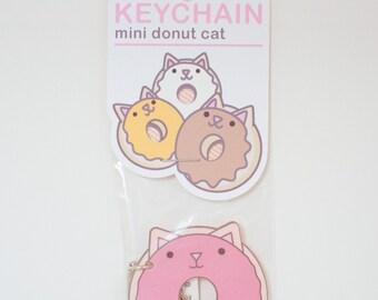 Mini Donut Cat Keychain - Strawberry