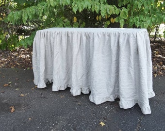 Floor Length Ruffled Linen Tablecloth Custom Sizes Wedding Decorations Table Decor Ruffled Tablecloth Linen Table Cover Handmade French