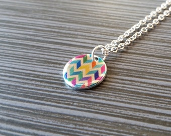 Silver Chevron Necklace - Blue and Pink Chevron Necklace - Personalized Necklace Custom Gift - Silver Disc Neckace - Dainty Necklace