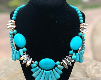 Howlite Turquoise Cleopatra Necklace Handstrung