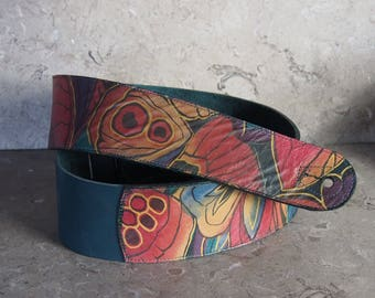 Butterfly Wing Technicolor Leather Guitar Strap