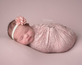 Blush Stretch Lace Swaddle Wrap AND/OR Matching Satin Flower Headband for Newborn Photo Shoots, Stretch Lace Layering by Lil Miss Sweet Pea