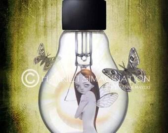 Fairy Art Print | Fairy And Moths | Fantasy Art Print | Light Bulb Fairy | A4 Art Print | Lowbrow Art | Shine