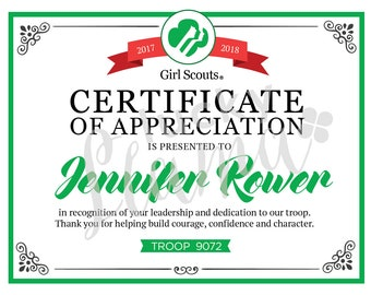 Scout leader etsy girl scout leader certificateaward printable editable instant download yadclub Choice Image