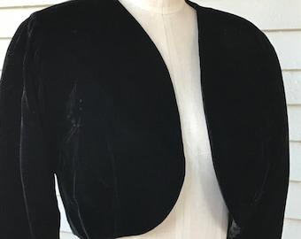 Vintage 1980s Cynthia Rowley Black Velvet Bolero Jacket  Sz 6