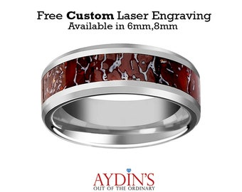 Dinosaur Bone Ring - Red Dinosaur Bone Inlay - Tungsten Wedding Band - Beveled - Polished Finish - 4mm - 8mm - Tungsten Wedding Ring