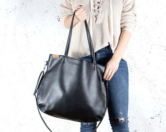 Shoulder bag & cross body bag Vegan leather bag Black vegan bag Tote bag with zipper Vegan purse Black vegan handbag vegan Gift for women