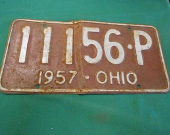 1957 OHIO License Plate/Tag