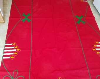 Vintage Handmade Christmas Tablecloth, Extra Long, Felt Appliqued With Candles on Red