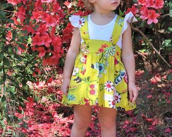 SALE - Suspender Skirt - Little Girls Dress - Summer Dress - Girls Flower Dress - Baby Clothes - Little Girls Spring Dress