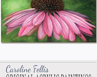 "Pink Flower Painting Cornflower Acrylic Painting Original Art Pink Charm Flower I by Caroline Fellis 18x36"" Closeup Floral Acrylic on Canvas"