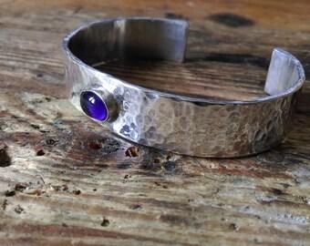 Bracelet hammered structure sterling silver amethyste