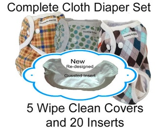 Complete Cloth Diaper Set of 5 Cloth Diaper Covers and 20 Absorbent Liners, Cloth Diaper Bundle, Cloth Diaper Inserts, Cloth Diaper Stash