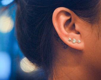 Mini Three Hearts Sterling Silver Ear Climbers