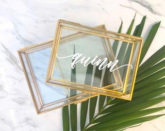 Glass Jewelry box / Bridesmaid Gift / Bridesmaid Proposal / Personalized Glass Box / Personalized Box / Bridesmaid Gift Personalized Gift