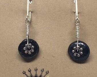 E1861:  Genuine Coin Pearl Dangle Earrings Lever Back