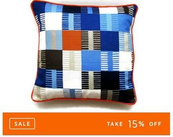 Scion Fabrics Navajo, orange, dark blue, light blue and gray cotton, geometric squares, cushion cover, throw pillow cover, homeware decor.