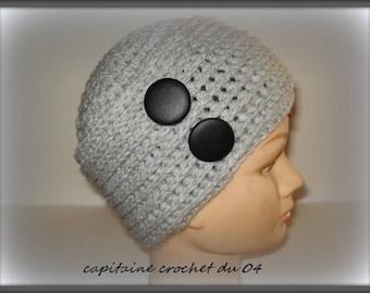 Wool Hat gray/hat woman/wool hat gray/woman/woman/Hat/winter Hat Cap toque winter/made in crochet / single