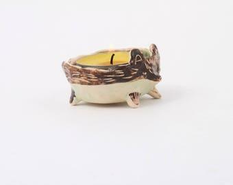 Ceramic Hedgehog/ Ceramic Candle Holder/ Tealight Holder/ Ceramic Candle Bowl