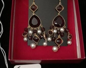 Kenneth Jay Lane purple chandelier earrings