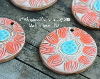 Pottery Pendant Bead with flower in Red and Turquoise