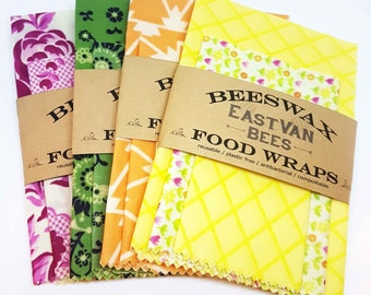 "Beeswax food wraps - 3 pack 8"" - 11"" -14"" - Zero waste"