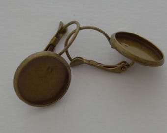 10 blank buckles antique bronze earrings for 14mm cabochon