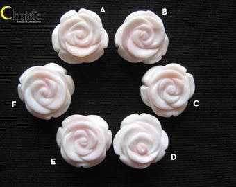 Flower Carved Pink/Beige Conch Shell double sided beads - 15mm (choose 1 pc) (#9)