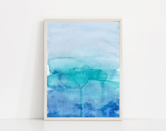 Blue Green Abstract Watercolor Print | Blue Art | Blue Print | Blue Watercolor | Teal Art Print | Green Watercolor | Watercolor Gradient