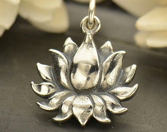 Sterling Silver Textured Blooming Lotus Charm
