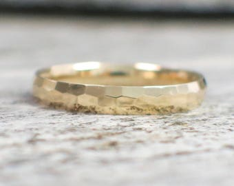14K Yellow Gold Hammed Band Stackable Ring
