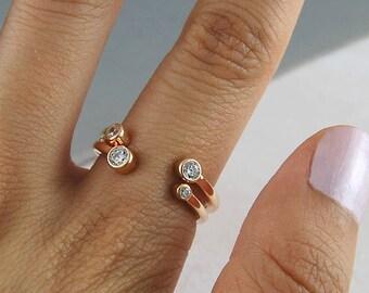 Stackable Ring, Stacking Ring Rose Gold, Adjustable Ring, Double Ring, Cuff Ring , Rose Gold Ring, Birthstone Ring, Open Ring, Gemstone Ring