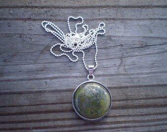 Natural Green Jasper Pendant Necklace