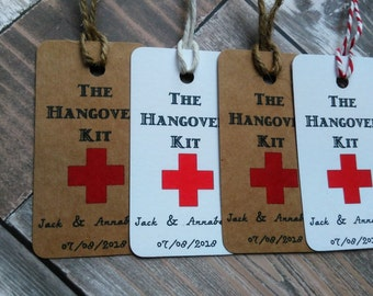 Hangover kit tags, Vintage hangover kit tags, Hen party tags, Stag party tags, Wedding hangover tags.