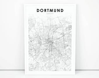 dortmund map print germany map art poster city street road map print nursery room wall office decor printable map