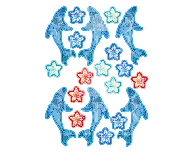 Digital Download Summer Ocean Cupcake Topper- Whales and Starfish