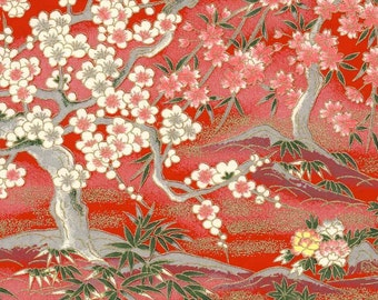 Chiyogami or yuzen paper - ruby red garden with mountains in magenta, grey and gold, 9x12 inches