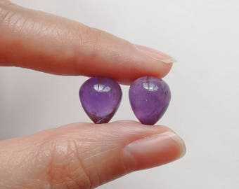 African Amethyst Upside Down Half Drilled Acorn Inverted Teardrops 10x12 mm One Pair J6738