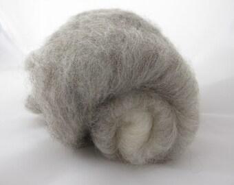 Shetland Silk Gradient Batt 40g Natural Grey to White/Luxury Spinning Fiber/Ombre Spinning Fiber/Felting Wool