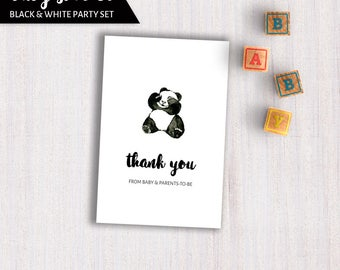 Black White Baby Shower cards. PANDA party Set. Advice Wishes Predictions cards. Thank You card. Book Diaper Baby Party printable CRFBS04