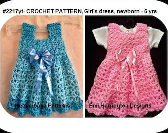 CROCHET BABY DRESS pattern, Girl's crochet dress, toddler, child, newborn, Crochet for baby, children's clothing, crochet baby dress, 2217yt