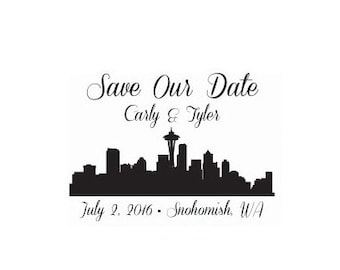 Seattle Skyline wedding save the date custom Rubber Stamp Save our Date