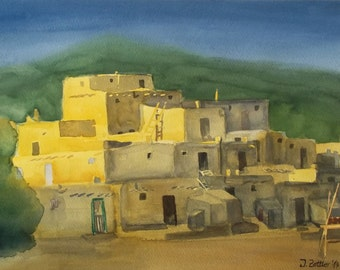 Taos Pueblo Painting,  Original Watercolor, Native American Dwelling, Adobe buildings, New Mexico, Father's Day