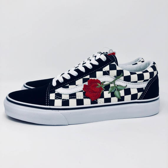 custom vans rose vans rose embroidered vans custom rose. Black Bedroom Furniture Sets. Home Design Ideas